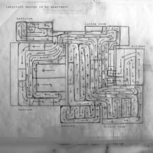 drawing of the labyrinth the artist created to cover every mountable surface in her apartment, as seen from above