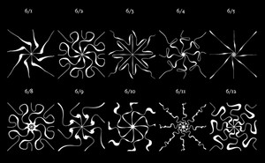 Ten radial patterns, each with a date listed above it, weekdays from June first to June twelvth
